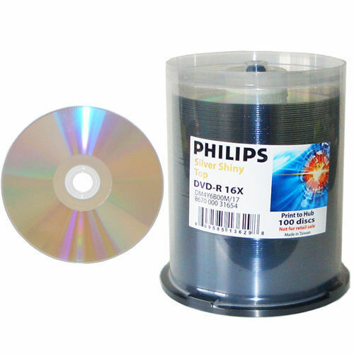 100-pk Philips 16x DVD-R Silver Shiny Thermal Hub Printable Blank Recordable DVD