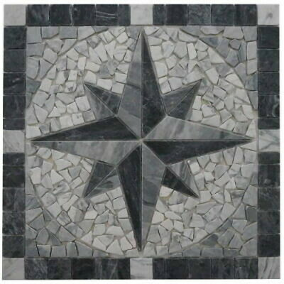 Naturstein Marmor Rosone 60x60 cm Windrose Mosaik Einleger Grau Creme Weiss EM2