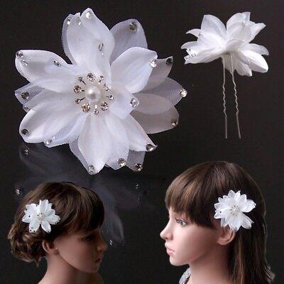 Haarblume 8cm weiß Haarblüte Strass Haarschmuck Hochzeit Haarnadel Damen H5158