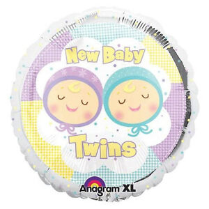 NEW-BABY-TWINS-18-MYLAR-balloons-SHOWER-DECORATIONS-GIFT-BOY-GIRL-FREE-RIBBON