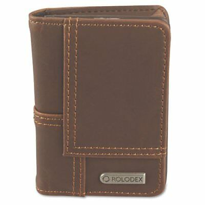 Rolodex Explorer Faux Leather Personal Card Case 36-card Capacity Brown