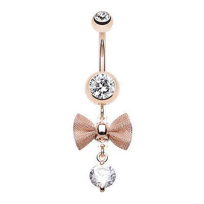 Elegant Mesh Bow-Tie Gem Dangle Belly Navel Button Ring Clear 14G Clear Gem Dangle Belly Ring