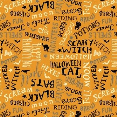 COME SIT A SPELL HALLOWEEN BLACK CATS WORDS FABRIC - Halloween Spelling Words