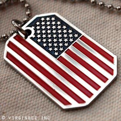 USA FLAG PENDANT AMERICAN OLD GLORY STARS STRIPES DOG TAG BALL CHAIN NECKLACE US