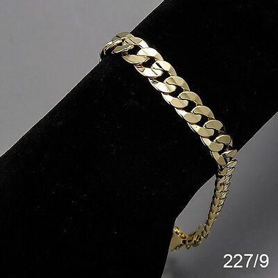 Men's 14K Yellow Gold Plated 9 Inches Chain Cuban Link Bracelet 8 mm  227/9