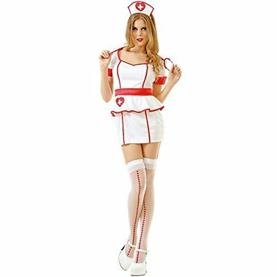 Naughty Nurse Women's Sexy Halloween Role Play Costume Scrubs, White, Small](Fun Female Halloween Costumes)