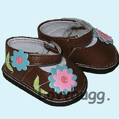 "Lovvbugg Brown Flowery Mary Janes for 18"" American Girl Doll Doll Shoes"