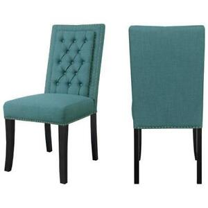 Picket House Eric Contemporary Polyester Dining Chair - Set of 2 – Teal (Assembled)