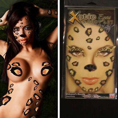Cheetah Makeup Mask Nose Animal Print Face Paint Pussy Cat Costume Glitter OS US - Cat Nose Makeup
