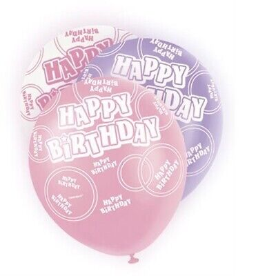 Pink Glitz Happy Birthday Pack Of 6 Latex Party Balloons Suit Air Or Helium ()