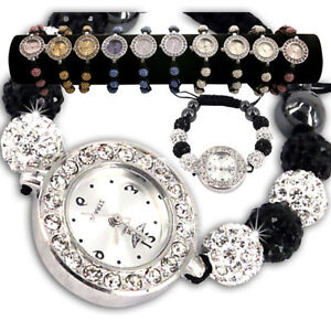 LADIES-SPARKLING-SHAMBALLA-WATCH-CRYSTAL-DISCO-BALL-BLING-DIAMANTE-BRACELETS-SET