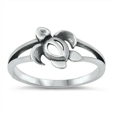 .925 Sterling Silver Girl's Cute Oxidized Ocean Sea Turtle Band Ring Sizes 4-10