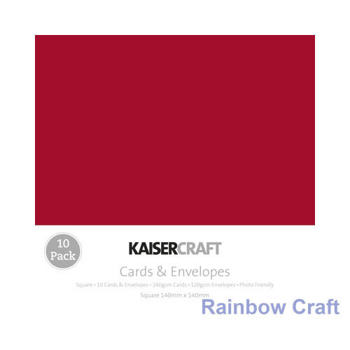 Kaisercraft 10 blank Cards & Envelopes Square / C6 size (12 selections) - Red
