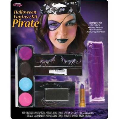 Halloween Fantasy Pirate Makeup Kit Includes Eyelashes Hair Extensions Fun World](Pirate Makeup Girl)