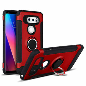Hard Stand Case Shockproof Ring Holder Cover For LG V30 + Plus/V