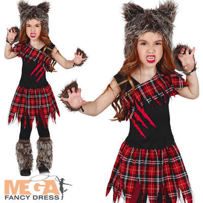 Werewolf Girls Fancy Dress Scary Wolf Animal Kids Child Halloween Costume Outfit (Scary Kids Halloween Costumes For Girls)