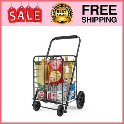 Heavy Duty 4 Wheeled Large Grocery Shopping Laundry Foldable Cart Lightweight