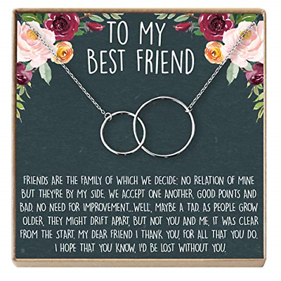 Best Friend Necklace - Heartfelt Card & Jewelry Gift for Bir