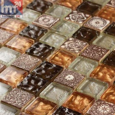 Mosaik Langkawi Glas Naturstein Ornament Effekt Fliese / Matte 29,5x29,5x0,8 cm