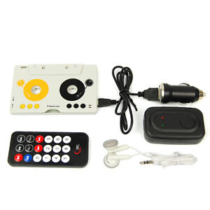 Car-Telecontrol-Tape-Cassette-SD-MMC-MP3-Player-Adapter-Kit-W-Remote-Control