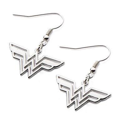 DC COMICS Licensed WONDER WOMAN Logo Stainless Steel EARRINGS Dangle JLA