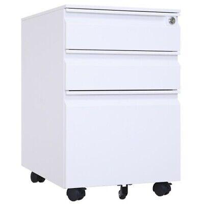 3drawer Mobile File Cabinet A4 Drawers Pedestal Storage W Locklockable Wheel