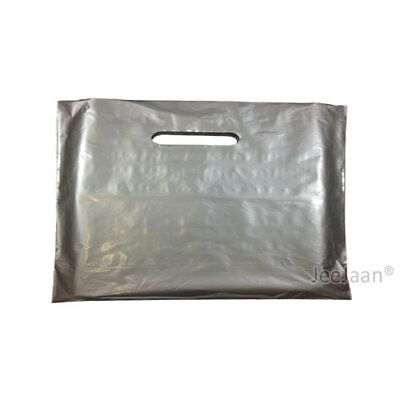 100 Silver Plastic Carrier Bags 22
