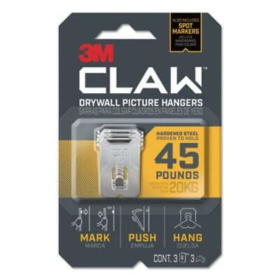 3m 3PH45M-3ES Claw Drywall Picture Hanger, Holds 45 Lbs, 3 Hooks And 3 Spot