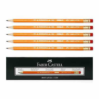 12pcs 1dozen Faber-castell Bonanza 1320 Yellow Pencil Hb With Rubber Eraser Tip