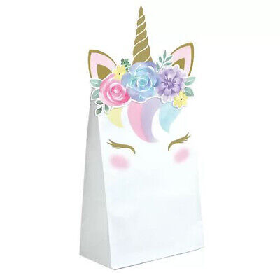 UNICORN BABY PAPER FAVOR BAGS (8) ~ Shower Party Supplies Pastel Treat Loot covid 19 (Baby Shower Treat Bags coronavirus)