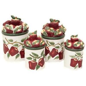 Apple canisters ebay for Apple kitchen decoration set
