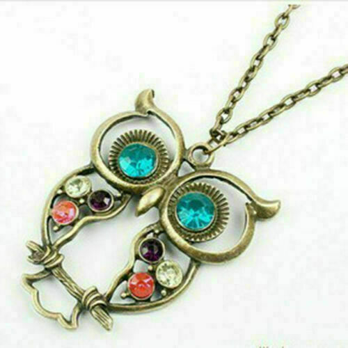 2019Lovely Women Lady Vintage Rhinestone Owl Pendant Long Chain Necklace Jewelry
