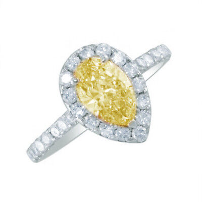2.10 CTW Pear Shape Diamond Engagement Ring Fancy Yellow 18K Gold GIA Certified