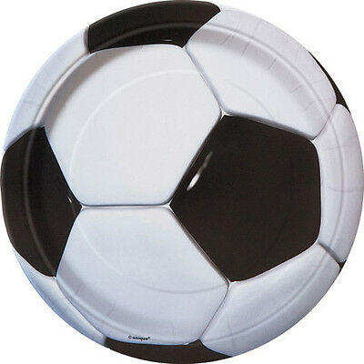3D SOCCER SMALL PAPER PLATES (8) ~ Sports Birthday Party Supplies Cake Dessert (Soccer Plates)