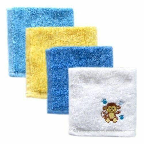 Luvable Friends Boy Washcloths, 4-Pack, Blue Monkey