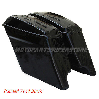 """2014 NEW VIVID 4.5"""" HD STRETCHED HARD SADDLEBAGS EXTENDED HARLEY SADDLE BAGS"""