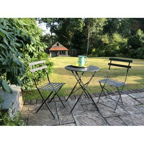 Garden Furniture - Selections Grey Metal 3 Piece Garden Patio Bistro Furniture Set & Folding Chairs