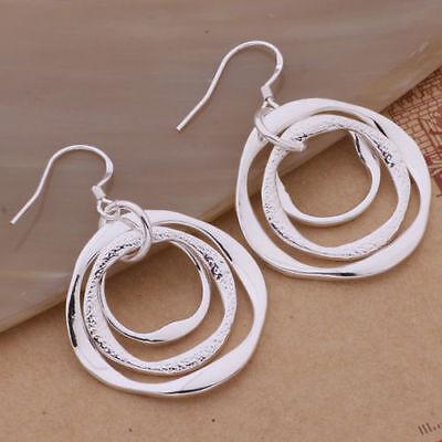 New Women Fashion Jewelry 925 Silver Sterling Vintage Dangle Hoop Hook Earrings