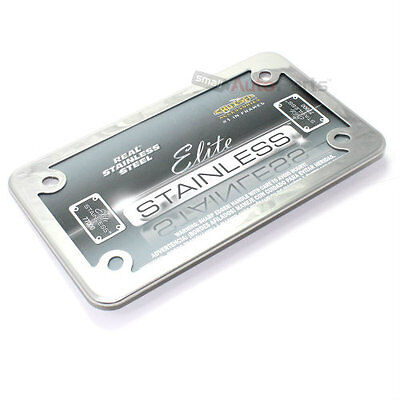 Real Stainless Steel License Plate Tag Frame for Motorcycle/Scooter/Chopper/Bike