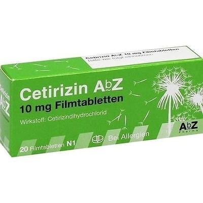 10 Mg 20 Tabletten (CETIRIZIN ABZ 10MG FILMT 20St Filmtabletten PZN:6716136)