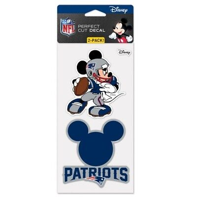 """NEW ENGLAND PATRIOTS MICKEY MOUSE DISNEY 2 PIECE PERFECT CUT DECAL SHEET 4""""X8"""""""