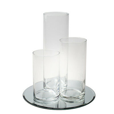 Eastland Round Mirror and Cylinder Vases Centerpiece 4 Piece Set, Event - Round Mirror Centerpiece