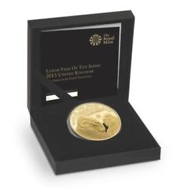 2015 UK Royal Mint 1oz Lunar Year Of The Sheep £2 Gold-Plated Silver Proof Coin