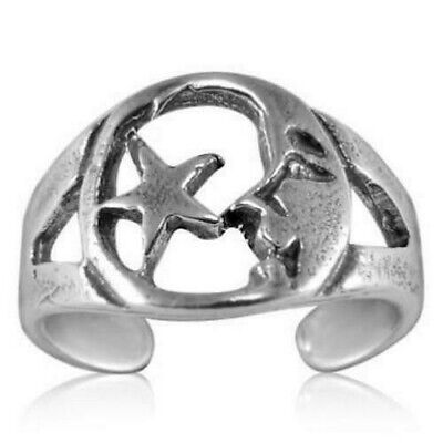 Man in the Moon and Star Adjustable Toe Ring Sterling Silver 925 Best Jewelry (Adjustable Star Toe Ring)