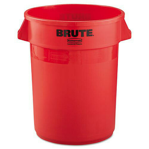 Rubbermaid 2632RED 32-Gallon Round Brute Container w/ Side Handles, Red New