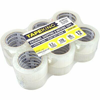 Tape King Super Thick 3.2mil Clear Packing Tape 12 Refill Rolls - Heavy Duty 60