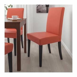 6 X IKEA Dining Chairs (Red fabric, dark brown wood legs)