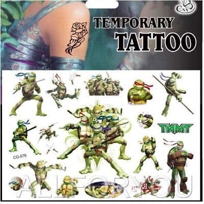 Ninja Turtles Tattoos (NEW Ninja Turtles Cartoon Kids Boys Girls Temporary Tattoos Stickers Body Art)