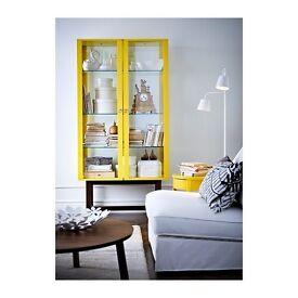 Yellow glass display cabinet