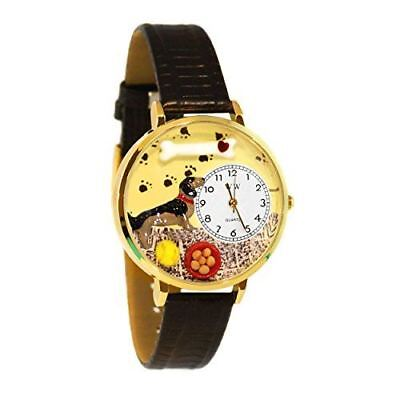 Whimsical Watches Unisex G0130034 Dachshund Black Leather Watch